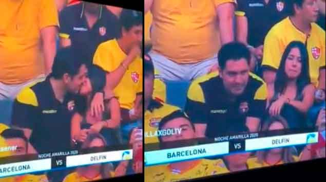 Kiss cam exhibe a hombre infiel en estadio de fútbol (VIDEO)